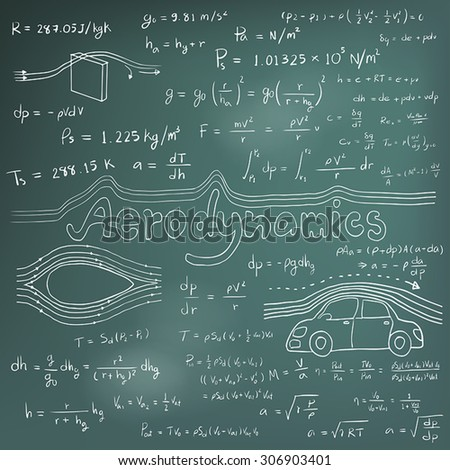 Aerodynamics law theory and physics mathematical formula equation, doodle handwriting icon in blackboard background with hand drawn model, create by vector - stock vector