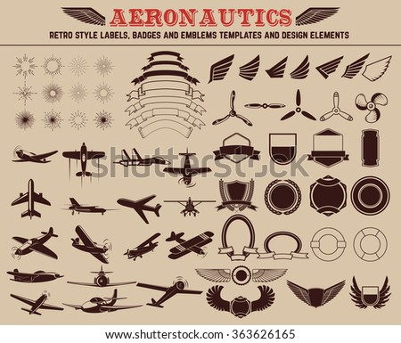 Aeronautics retro style labels, badges and emblems templates and design elements. - stock vector