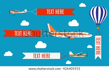 Aeroplane, planes, biplane and hot air balloon. Set of colorful flat air transports with cloud. Vector illustration - stock vector