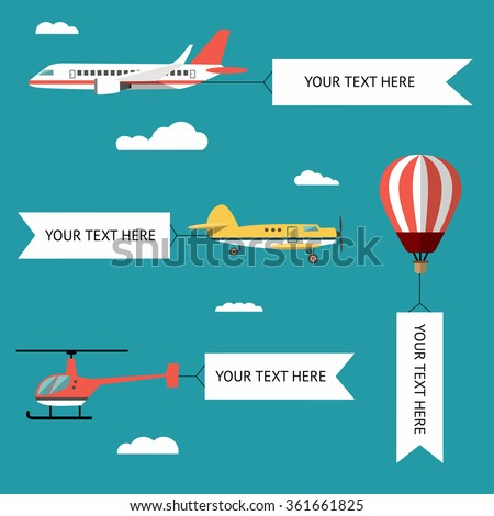 Aeroplane, planes, helicopters, biplane and hot air balloon. Set of colorful flat air transports with cloud. Vector illustration. - stock vector