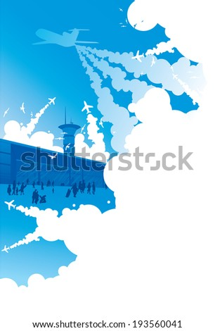 Aeroport in cloud, people, planes on take off/Aero tourism - stock vector