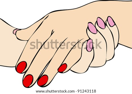 Affection of two women joined hands