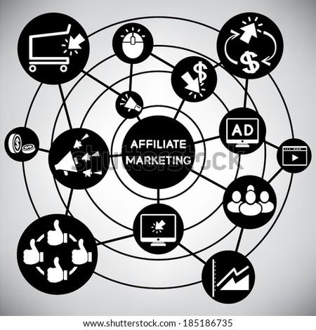 affiliate marketing, online marketing network, info graphic - stock vector