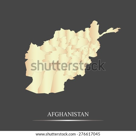 Afghanistan map outlines in an abstract black and white design, vector map of Afghanistan in a grey background - stock vector