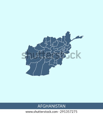 Afghanistan map vector, Afghanistan map outlines in a contrasted blue background for brochure and web-page templates and science & publication uses - stock vector