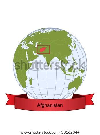 Afghanistan, position on the globe - stock vector