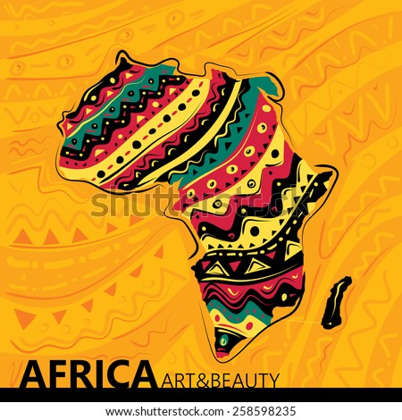 Africa Abstract Map, Texture Background (Vector Art) - stock vector