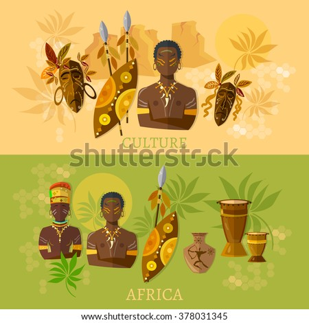 Africa African culture and traditions african tribes vector banners - stock vector