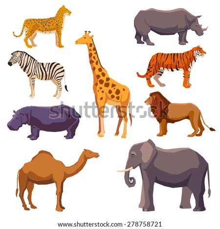 Africa animal decorative set with leopard zebra hippo giraffe camel elephant lion tiger rhino isolated vector illustration  - stock vector