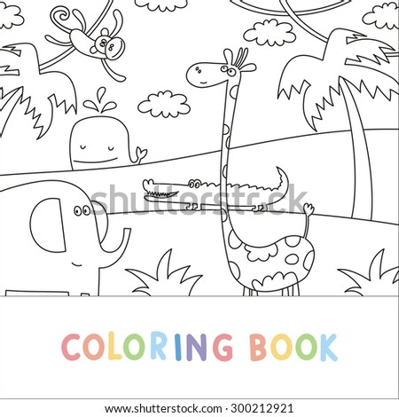Africa Animals funny cartoon. Coloring page - stock vector