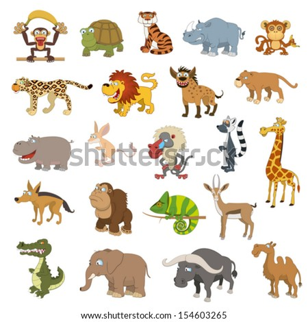 Africa animals set isolated on white background - stock vector