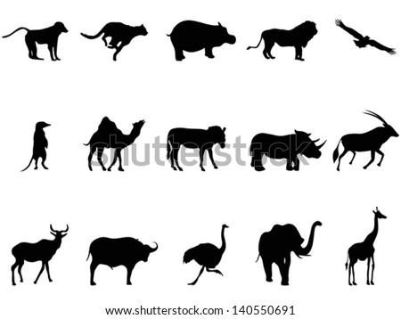africa animals silhouettes - stock vector