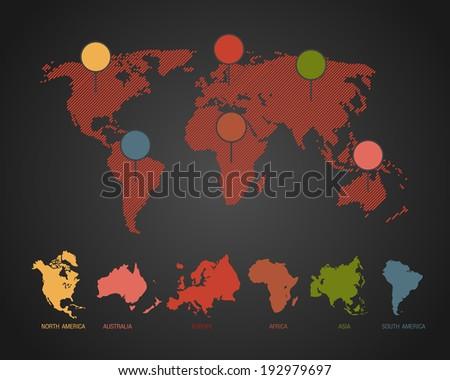 Africa antarctica asia australia europe north stock vector africa antarctica asia australia europe north america south america sciox Choice Image