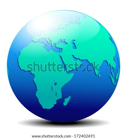 Africa, Arabia and India Globe World - The base map is from NASA and traced by hand using the pen tool and a tablet pen for maximum detail - stock vector