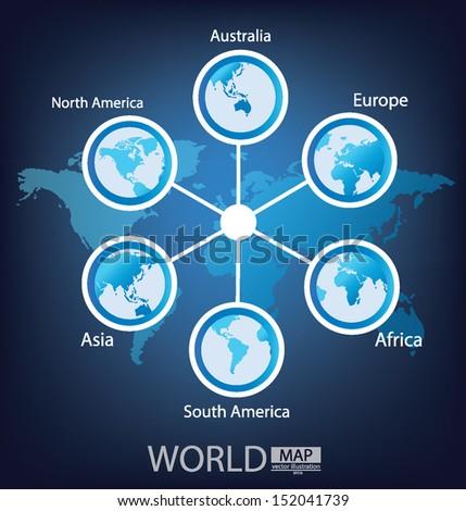 Africa. Asia. Australia. Europe. North america. South america. Modern globe. vector Illustration. - stock vector