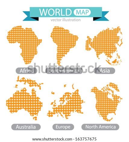 Africa. Asia. Australia. Europe. North america. South america. World Map vector Illustration. - stock vector