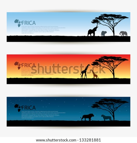 Africa banners - vector illustration - stock vector