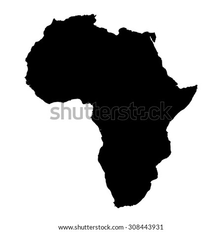 Africa black silhouette map - stock vector