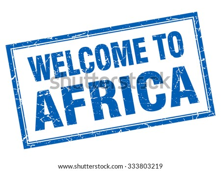 Africa blue square grunge welcome isolated stamp