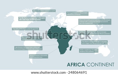 africa continent facts - stock vector