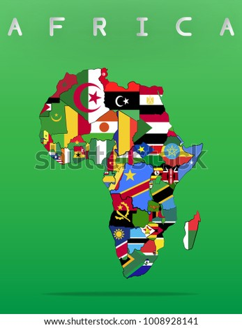 Lovely Africa Continent Map With Flag And Country Line, Vector Eps10