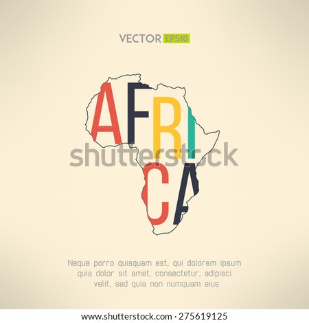 Africa continent outline with text inside. Infographic and travel element. Letters are not cut and easy to move. Vector illustration. - stock vector