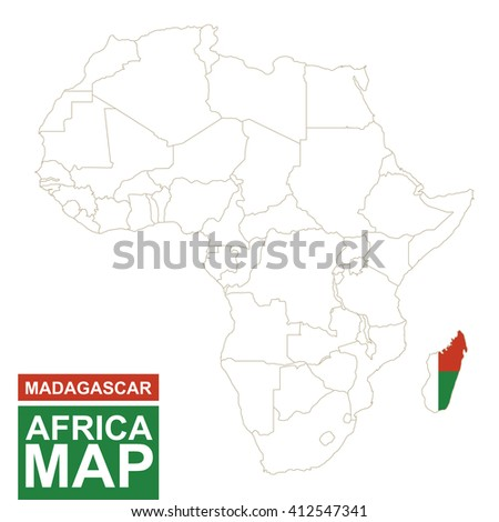 Africa contoured map with highlighted Madagascar. Madagascar map and flag on Africa map. Vector Illustration. - stock vector