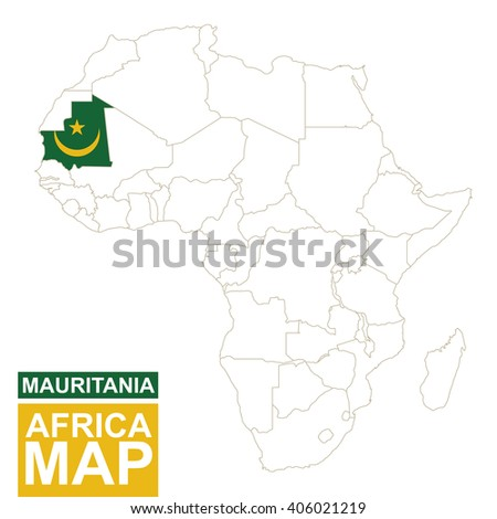 Africa contoured map with highlighted Mauritania. Mauritania map and flag on Africa map. Vector Illustration. - stock vector