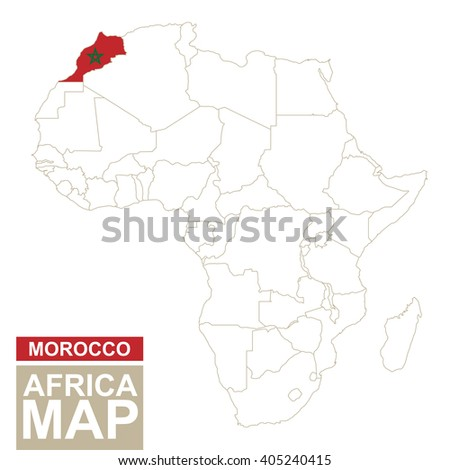 Africa contoured map with highlighted Morocco. Morocco map and flag on Africa map. Vector Illustration. - stock vector