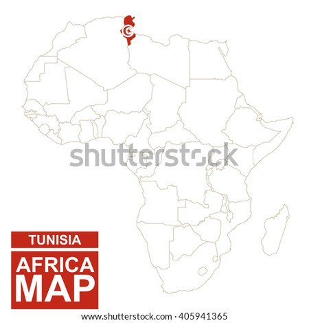 Africa contoured map with highlighted Tunisia. Tunisia map and flag on Africa map. Vector Illustration. - stock vector