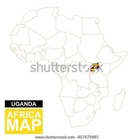 Africa contoured map with highlighted Uganda. Uganda map and flag on Africa map. Vector Illustration. - stock vector