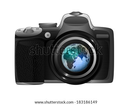 Africa earth globe in camera focus ready to snapshot isolated vector illustration