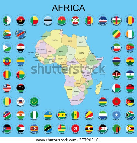 Africa - Flags around the Maps - stock vector