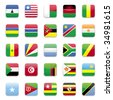 Africa flags round icon set  - stock vector