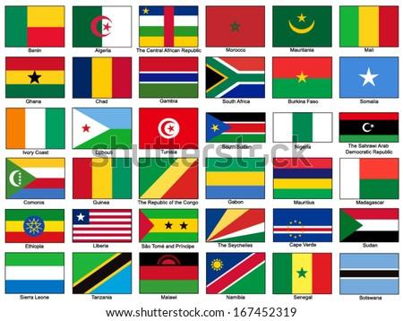 Africa Flags Vector Set - stock vector