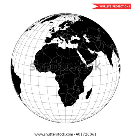 Africa globe hemisphere. World view from space icon. - stock vector