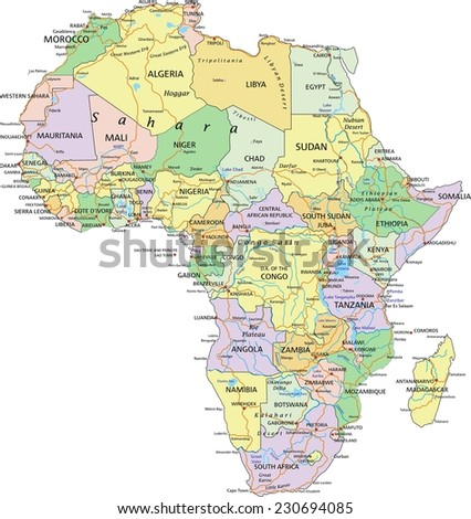 Africa - Highly detailed editable political map with separated layers. - stock vector