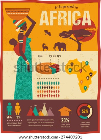 Africa - infographics with data icons, elements and illustrations.  background with african woman and baby - stock vector