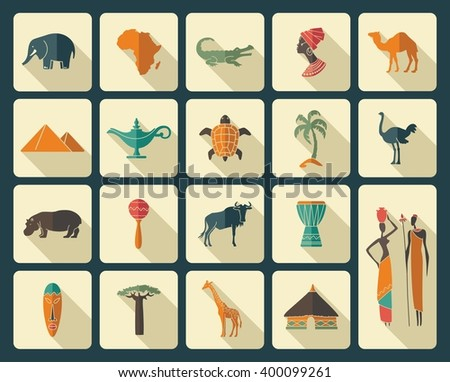 Africa jungle ethnic culture travel icons set - stock vector