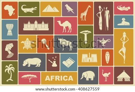 Africa jungle ethnic culture travel icons set