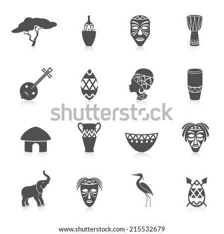 Africa jungle ethnic culture travel icons set black isolated vector illustration - stock vector