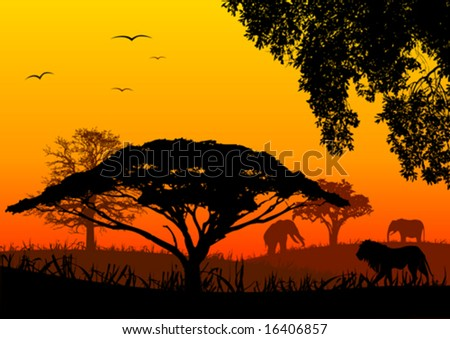 Africa landscape - stock vector