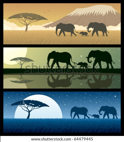 Africa Landscapes 2:Three African landscapes with elephants. Good for using as banners. No transparency used. Basic (linear) gradients used. - stock vector