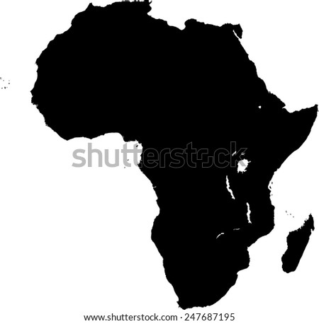 Highly Detailed Africa Map Silhouette Stock Vector 229465678