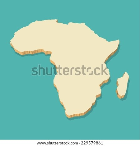 Africa Map Detailed Three Dimensional - stock vector