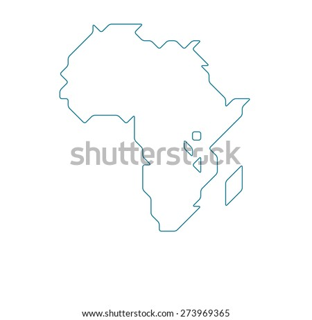 Africa map drawn with thin line on a invisible grid of rounded squares and triangles - stock vector