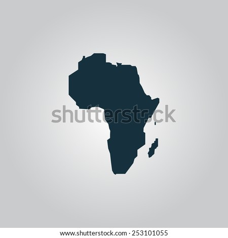 Africa Map. Flat web icon, sign or button isolated on grey background. Collection modern trend concept design style vector illustration symbol - stock vector