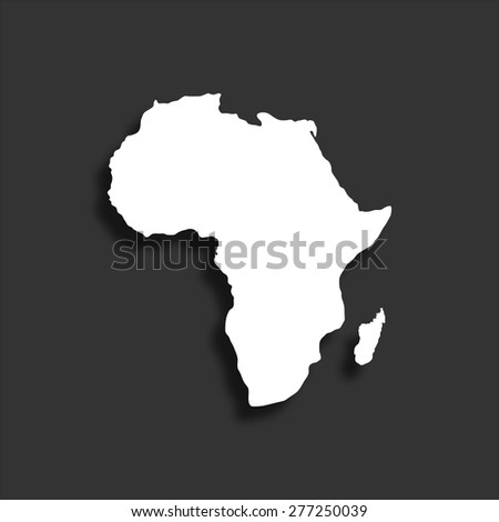 Africa map icon with shadow - vector illustration - stock vector