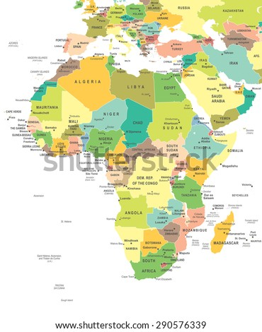 Africa - map - illustration - stock vector