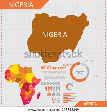 africa map infographic - stock vector